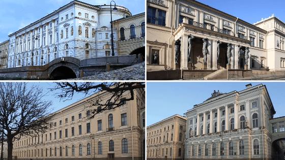 Здания малого, большого и нового эрмитажей и театр